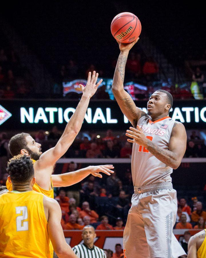 Illinois%27+Leron+Black+%2812%29+puts+up+a+floater+during+the+game+against+Valparaiso+at+State+Farm+Center+on+Tuesday%2C+March+13.+The+Illini+won+82-57.