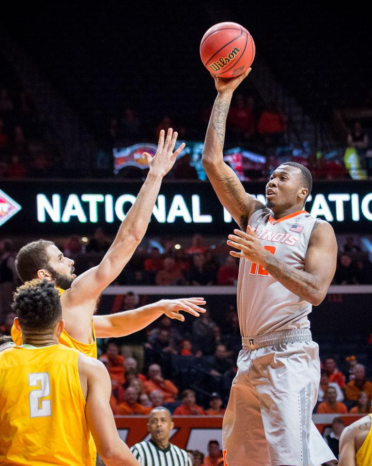 Illinois' Leron Black (12) puts up a floater during the game against Valparaiso at State Farm Center on Tuesday, March 13. The Illini won 82-57.