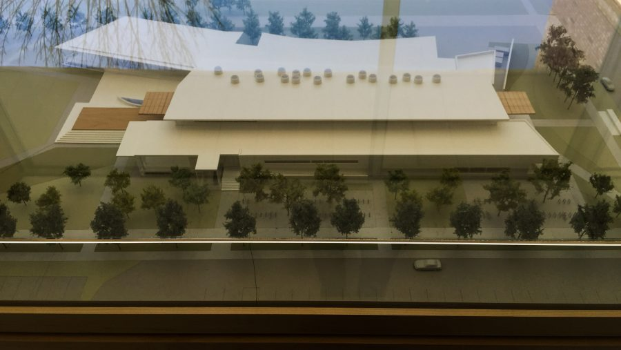 The model of the new Siebel Center for Design is displayed in the Link Gallery in the Art and Design Building.