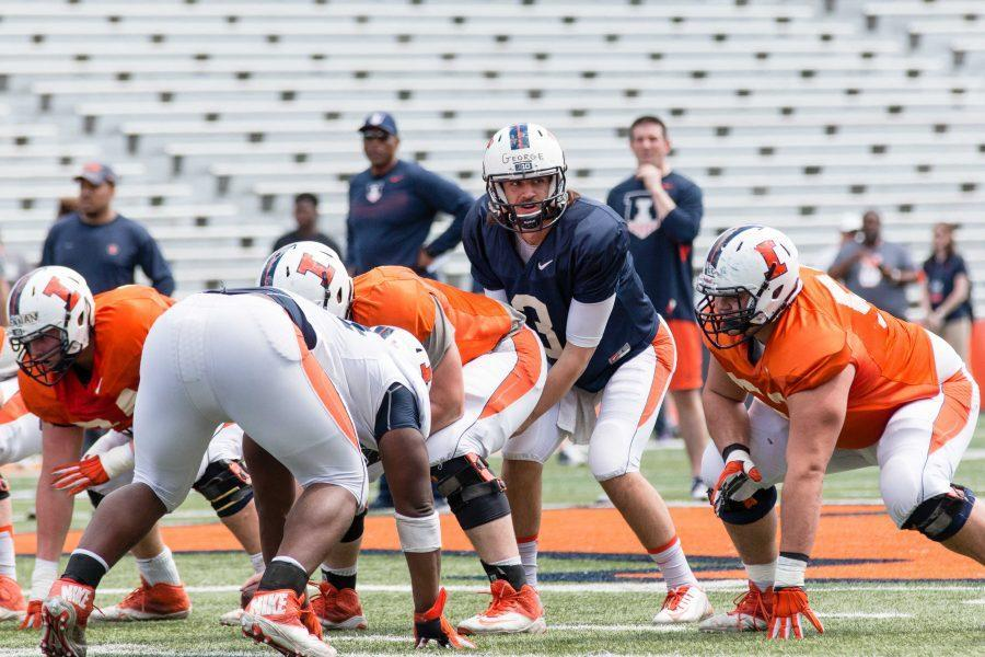 Jeff George Jr. stands at the line of scrimmage at last year's spring practice.