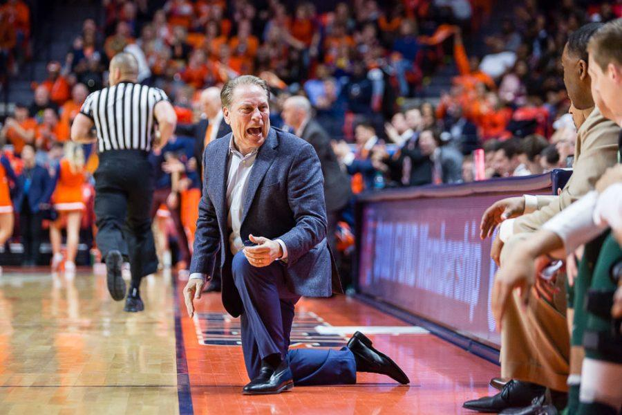 Michigan State's head coach Tom Izzo yells at his bench during the game against Michigan State at State Farm Center on Wednesday, March 1.
