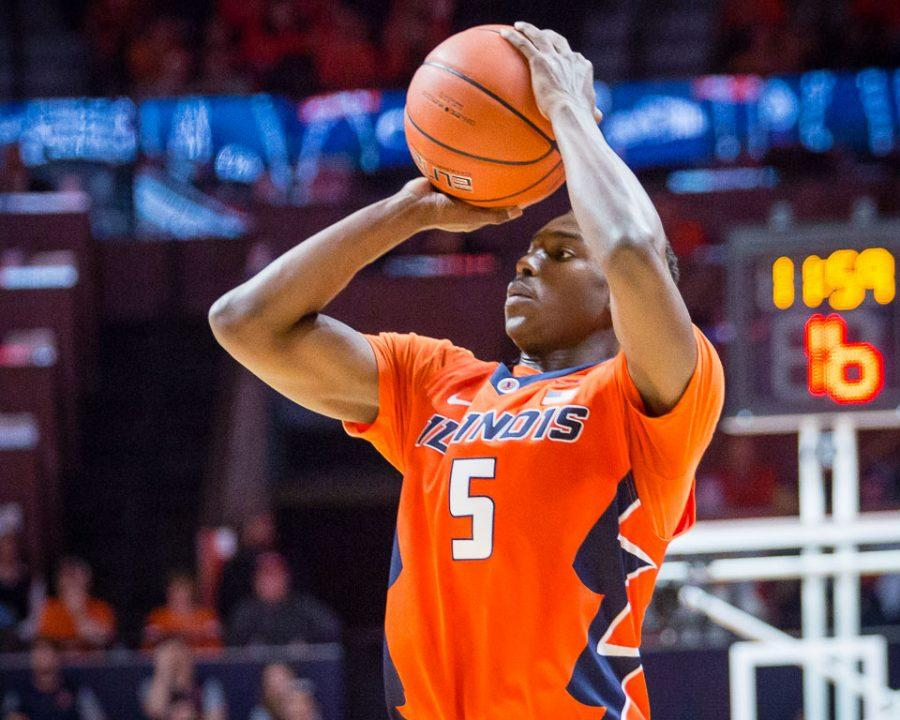 Illinois%27+Jalen+Coleman-Lands+%285%29+shoots+a+three+during+the+game+against+Michigan+State+at+State+Farm+Center+on+Wednesday%2C+March+1.