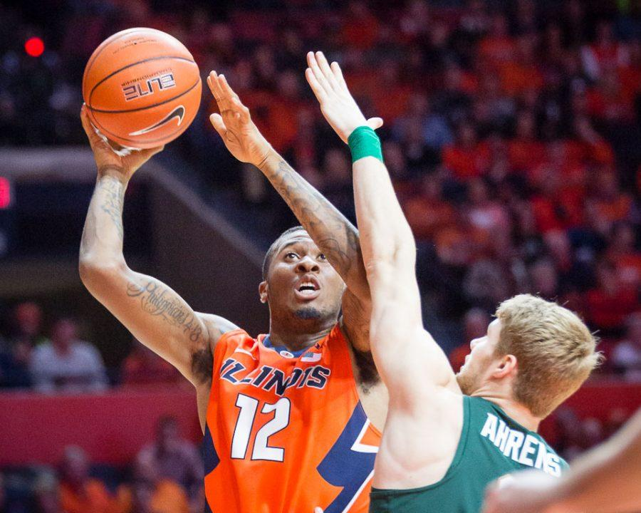Illinois' Leron Black (12) goes up for a layup during the game against Michigan State at State Farm Center on Wednesday, March 1.
