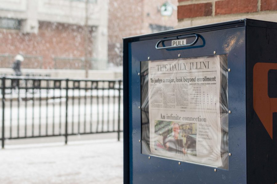 An easy way for students to stay updated with current news is to pick up newspapers, like The Daily Illini, that are available around campus.