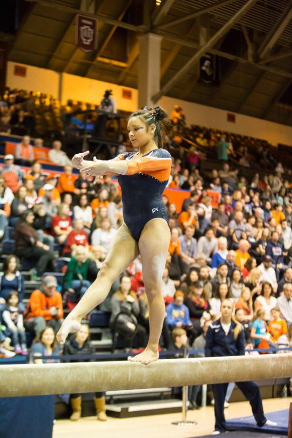 Illinois' Lizzy LeDuc performs a routine on the balance beam during the State of Illinois Classic at Huff Hall on Saturday, March 5, 2015. The Illini claimed victory for the ninth consecutive year with a total of 195.425 over Northern Illinois (194.225), UIC(192.625) and Illinois State (191.500).