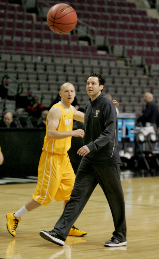 Valparaiso University head coach Bryce Drew put his team through drills Wednesday, March 20, 2013, at The Palace of Auburn Hills, in Auburn Hills, Michigan. The Crusaders will face Michigan State for their second-round NCAA Tournament game.