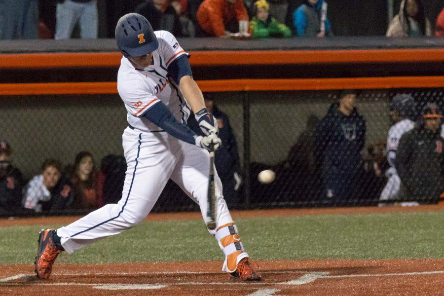Illinois%27+Luke+Shilling+hits+a+double+down+the+right+field+line+scoring+Pat+McInerney+in+the+game+against+Eastern+Illinois+at+Illini+Field+on+Tuesday%2C+April+5.+The+Illini+won+9-7.