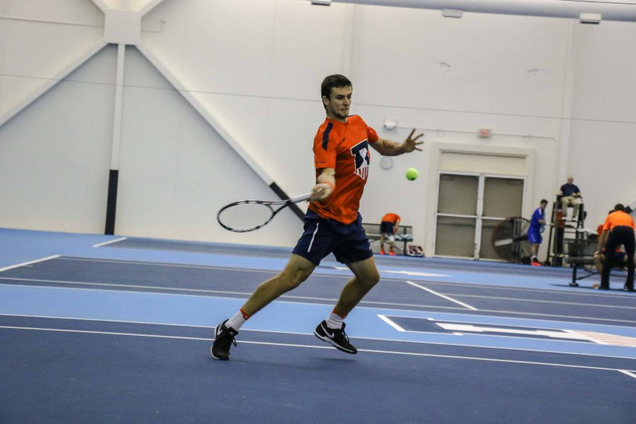 Illinois%27++Aleks+Vukic+strikes+back+the+ball+in+the+meet+against+University+of+Kentucky+on+Friday%2C+Feb.+24+at+the+Atkins+Tennis+Center+in+Urbana.