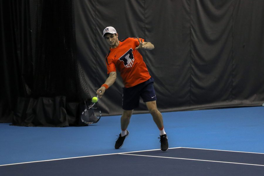 Illinois%27+Aleks+Vukic+returns+the+ball+in+the+match+against+University+of+Kentucky+on+Friday%2C+Feb.+24+at+the+Atkins+Tennis+Center+in+Urbana.