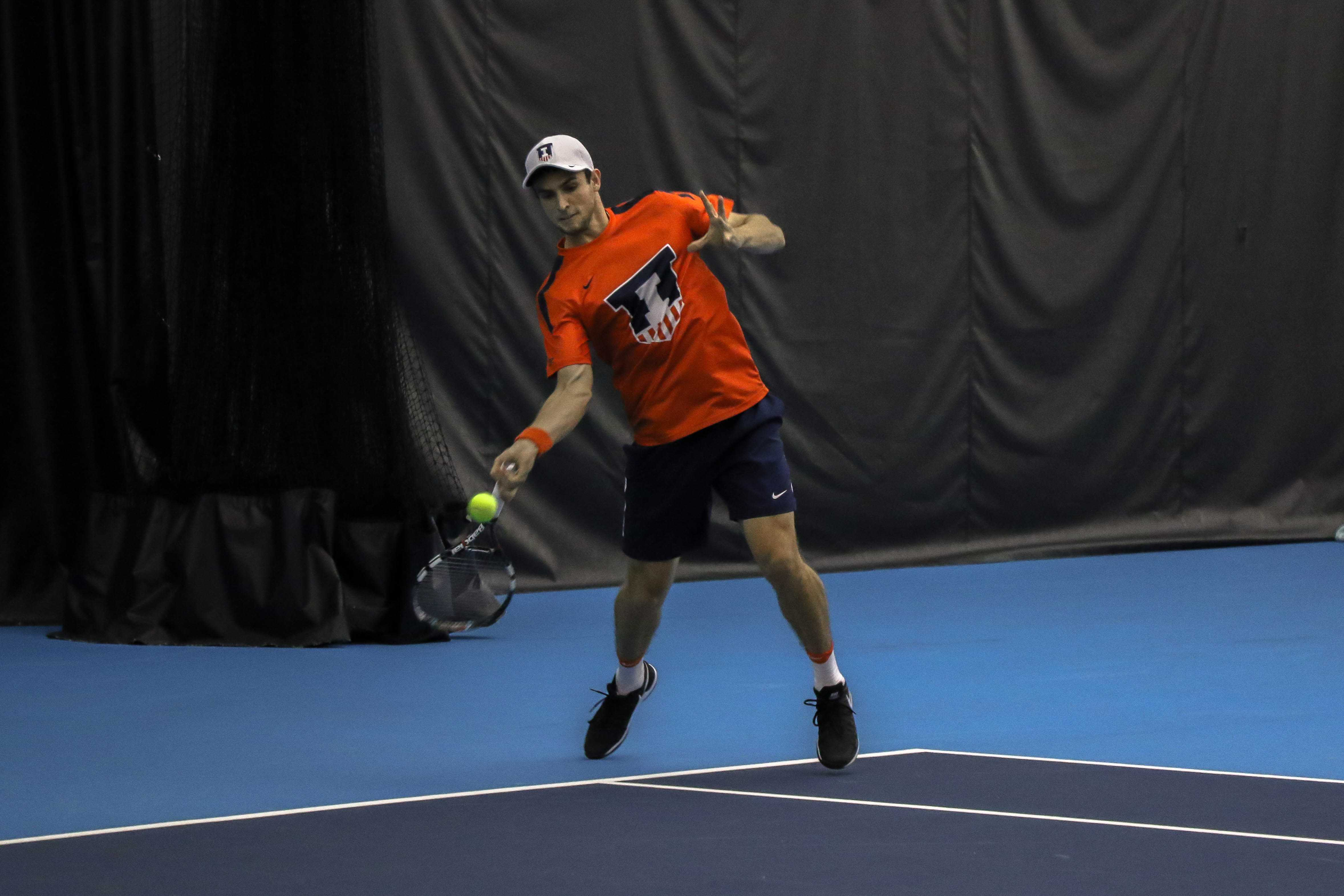 Illinois' Aleks Vukic returns the ball in the match against University of Kentucky on Friday, Feb. 24 at the Atkins Tennis Center in Urbana.