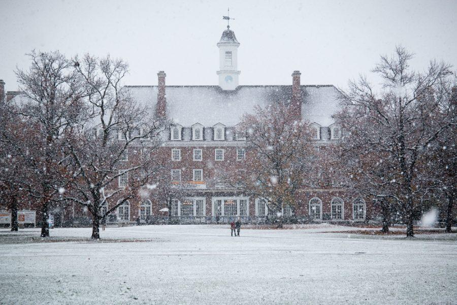 A photo of the Illini Union in the snow on Dec. 4. Winter term classes may not be offered in the future.