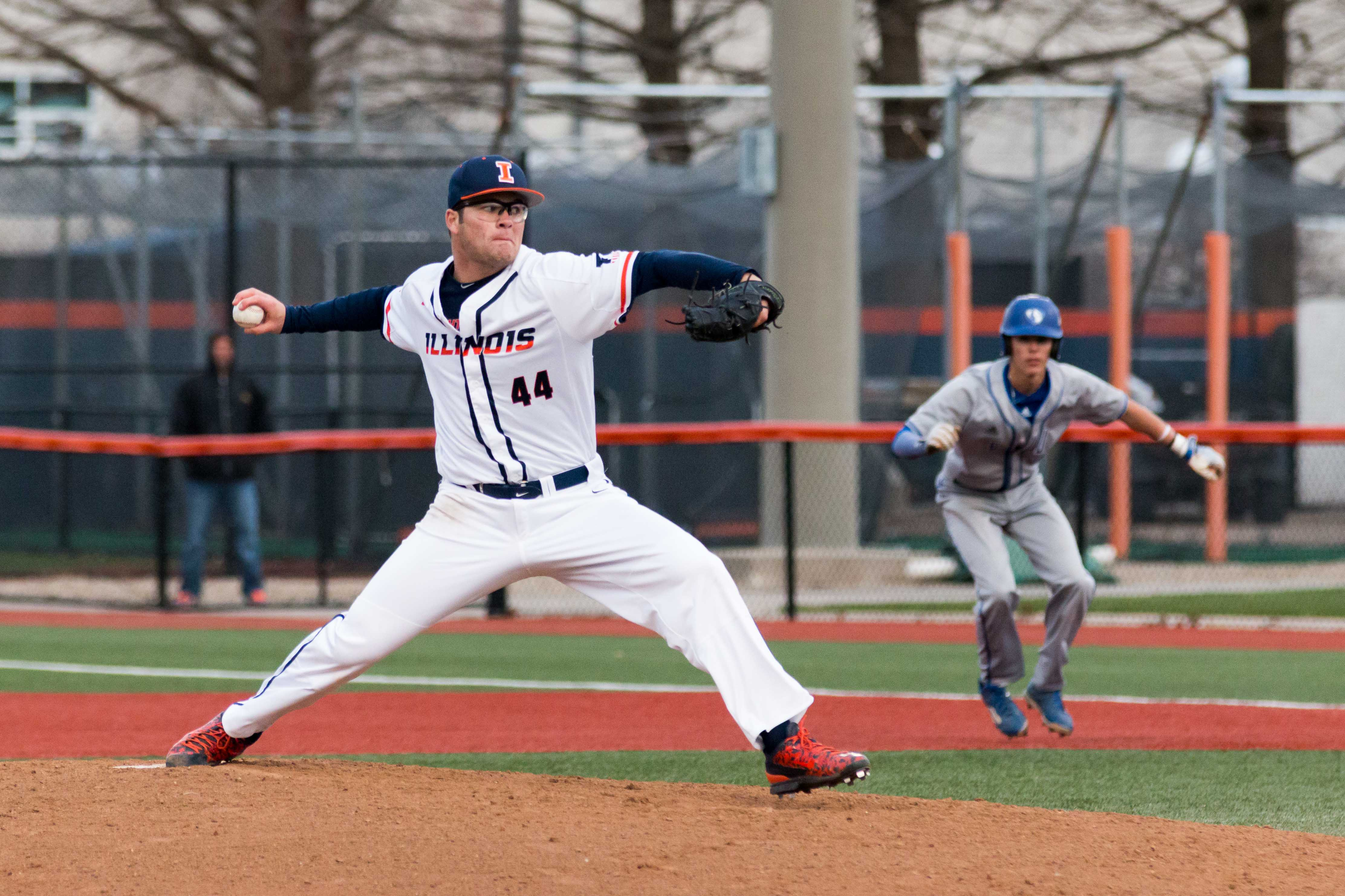 Illinois starting pitcher Quinten Sefcik delivers the pitch during the first inning of the game against Eastern Illinois at Illini Field on Tuesday, April 5. Sefcik pitched four innings and gave up seven hits and two runs. The Illini won 9-7.