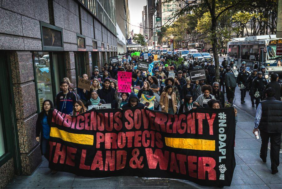 Hundreds of New Yorkers gathered at Grand Central Station in solidarity with the indigenous and non-indigenous allies who are on the front lines in North Dakota fighting the construction of the 3.8 billion dollar Dakota Access Pipeline on Nov. 1 in New York City.