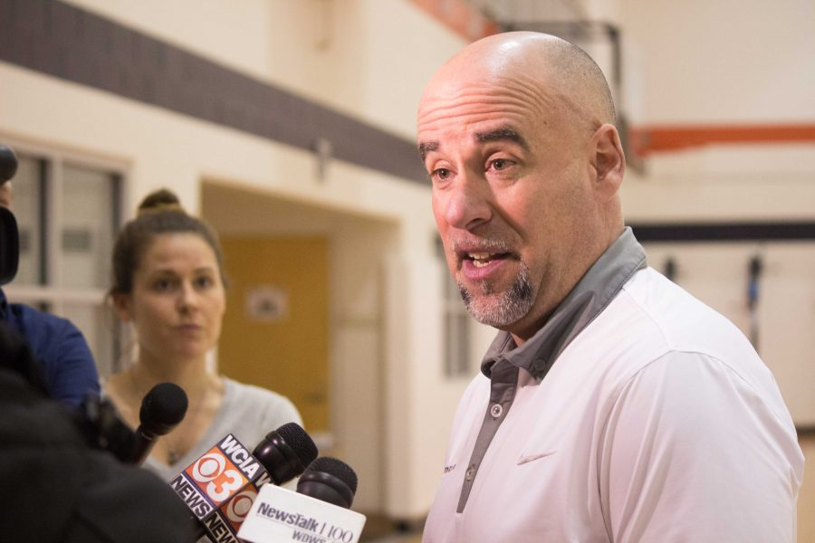 Matt+Bollant+addresses+the+press+after+being+fired+as+head+coach+of+Illinois%27+Women%27s+Basketball+team+on+Tuesday.