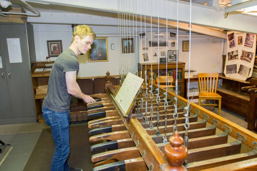 Cody Jones, senior in LAS, performs the chime in Altgeld Hall on Sept. 19, 2015. Jones waits for updates on the status of the tower's restorations.