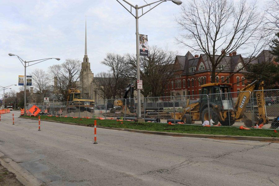 MCORE renovations occur in front of the Illini Union and portions of Green Street, which is part of a five-part plan to renovate campus streets. The project was halted beginning July as the state of Illinois was unable to pass a budget to fund the construction.