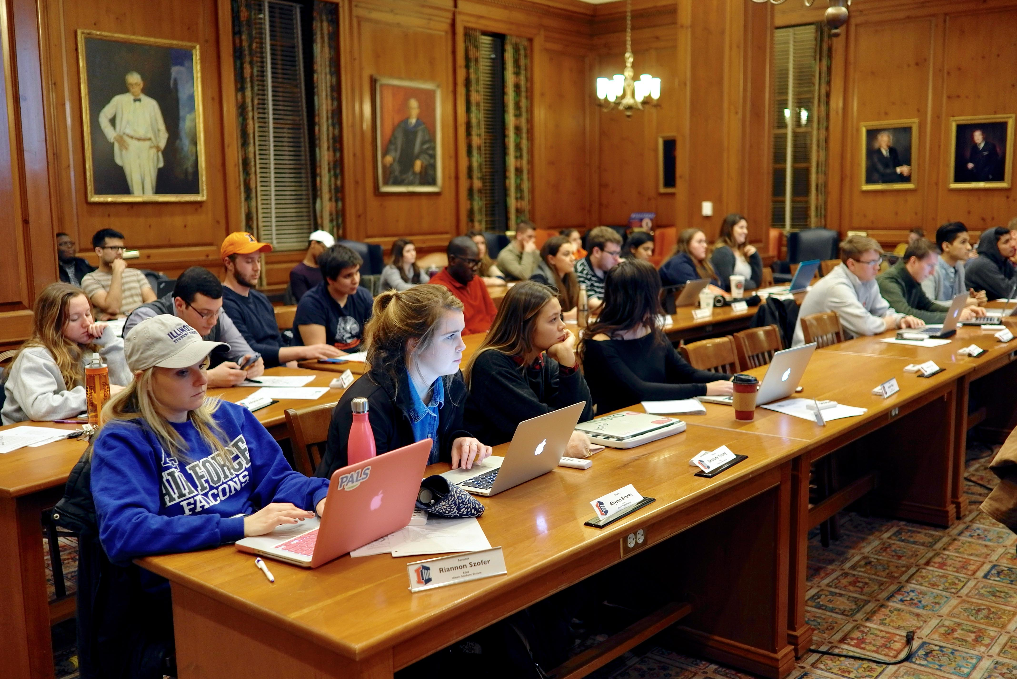 The Illini Student Government in the Pine Room at the Illini Union on Jan. 18. The student government participated in a conference call on April 5 with former Vice President Joe Biden regarding the It's On Us initiative.