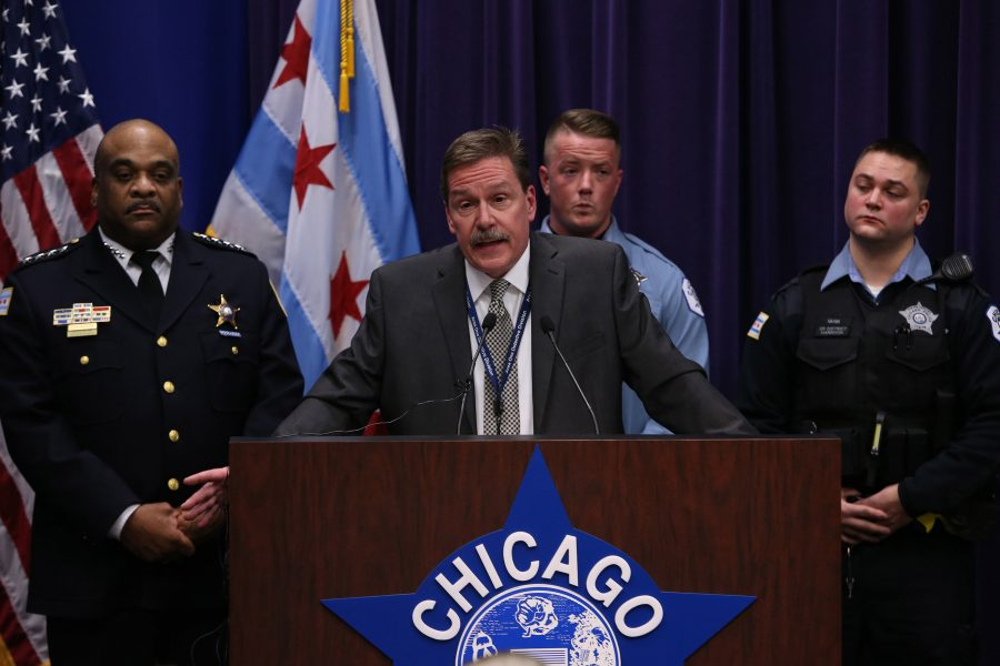 Chicago Police Commander Kevin Duffin speaks (during a news conference  Jan. 5) on the charges filed against four individuals for attacking a man and streaming the video on Facebook.