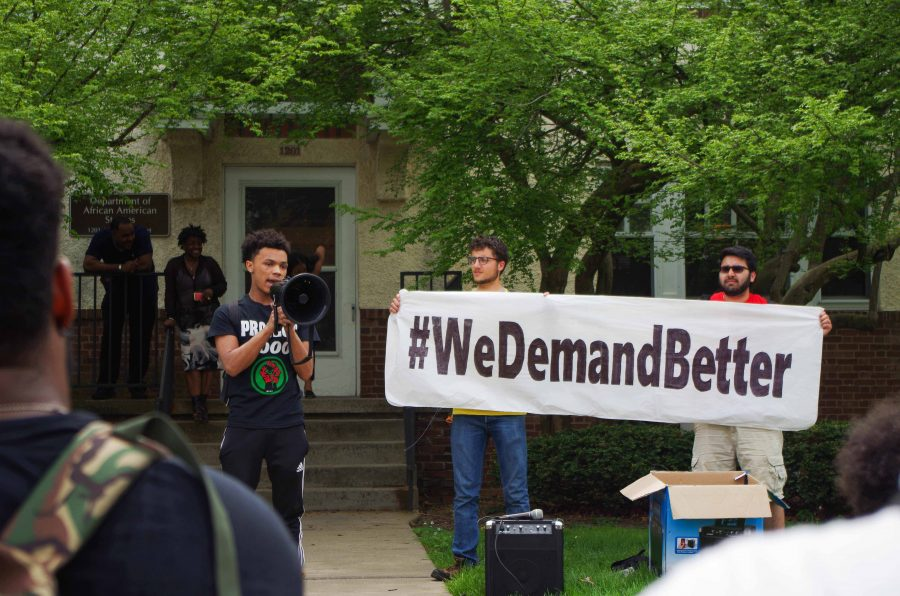 The+Movimiento+Estudiantil+Chicanx+de+Aztl%C3%A1n+and+the+Black+United+Front+held+a+rally+in+front+of+the+African+American+Studies+cultural+house+on+Wednesday.+Participants+spoke+of+demands+for+the+University+Administration%2C+including+the+rehire+of+Lou+Turner%2C+the+coordinator+and+adviser+in+the+Department+of+African+American+Studies%2C+who+is+facing+termination.