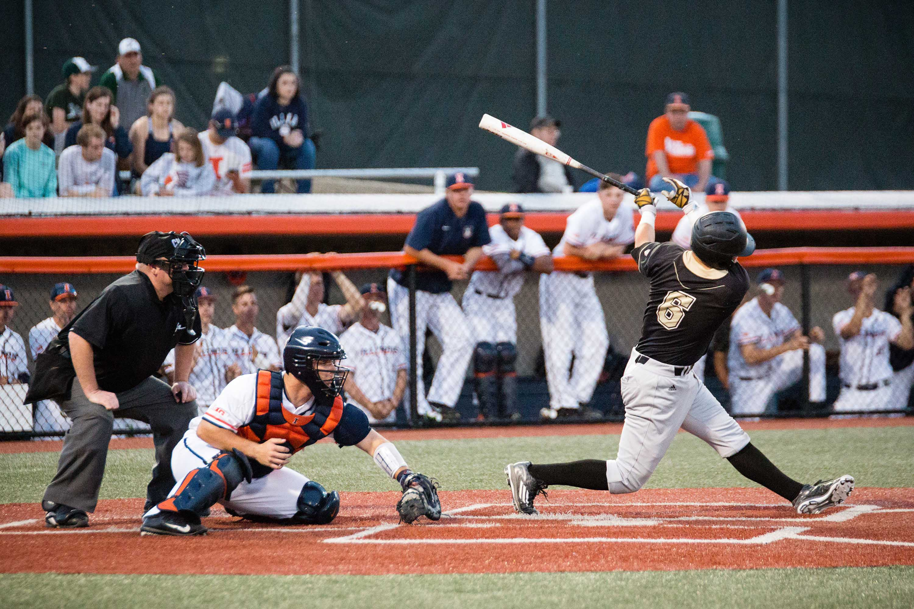 Illinois catcher Mark Skonieczny catches a third strike against Western Michigan at Illinois Field on Tuesday. Illinois travels to Purdue this weekend to inch closer to a .500 record.