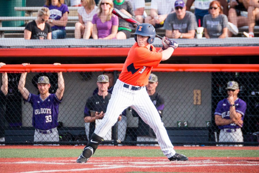 Illinois' Jack Yalowitz gets ready to hit against Northwestern at Illinois Field on April 15.