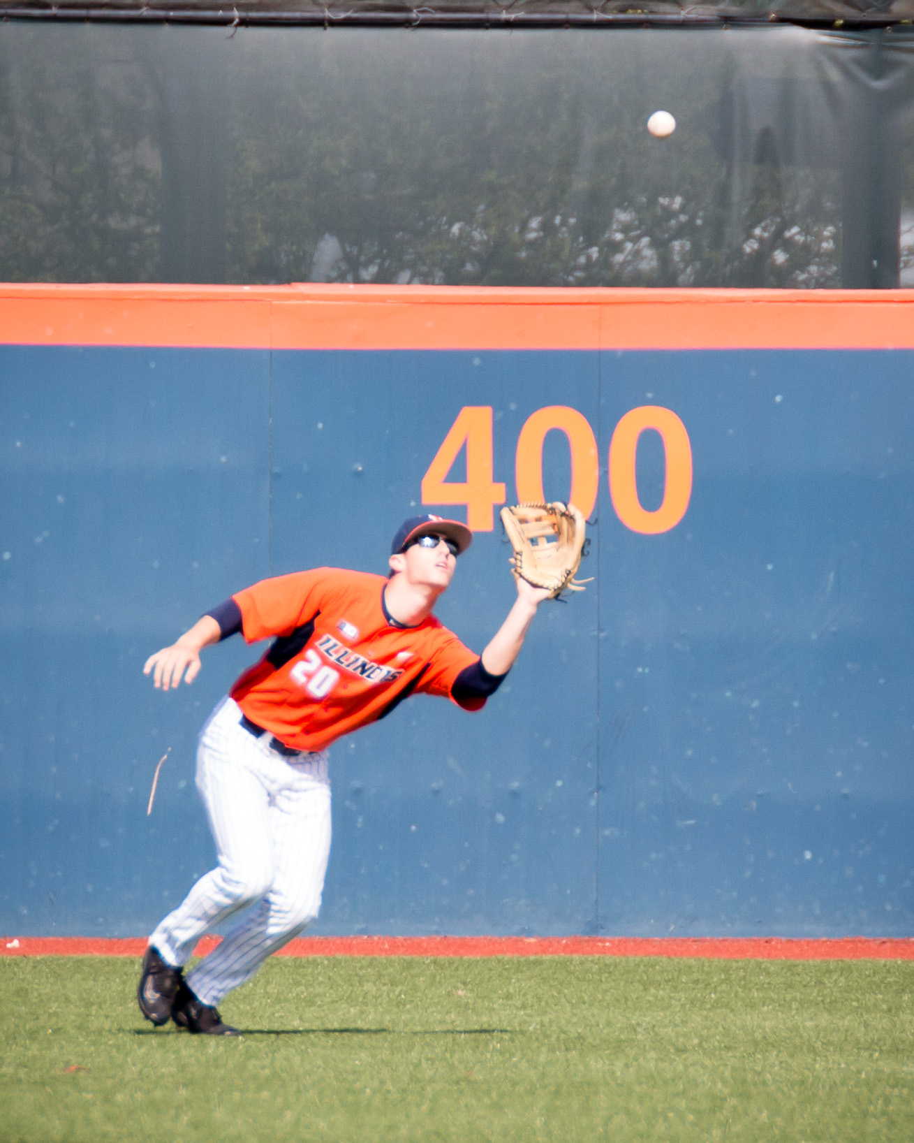 Illinois center fielder Doran Turchin camps under a flyball against Indiana State on Saturday. This sweep of the Sycamores marks the Illini's third-straight win and first sweep of the 2017 season.