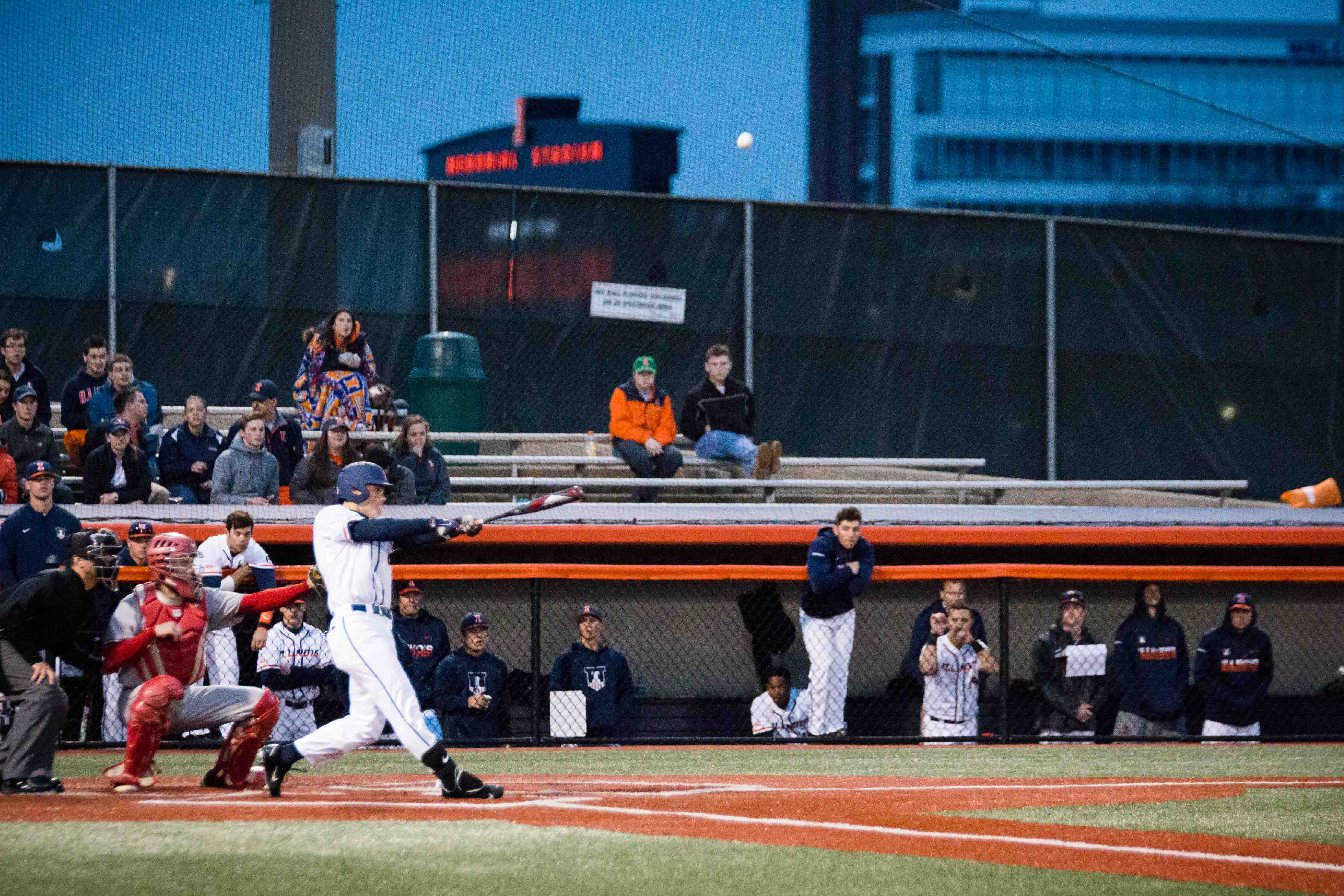 Illinois' Michael Massey hits a pop fly against Bradley at Illinois Field on Tuesday, March 28. The team recently beat Illinois State 6-5. It will play Northwestern in a three-game series this weekend.