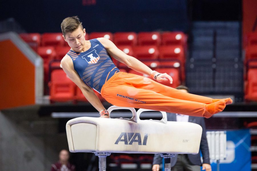 Illinois%E2%80%99+Brandon+Ngai+performs+on+the+pommel+horse+during+the+Men%E2%80%99s+Big+Ten+Gymnastics+Championships+at+State+Farm+Center.+He+took+the+title+with+a+score+of+14.825.