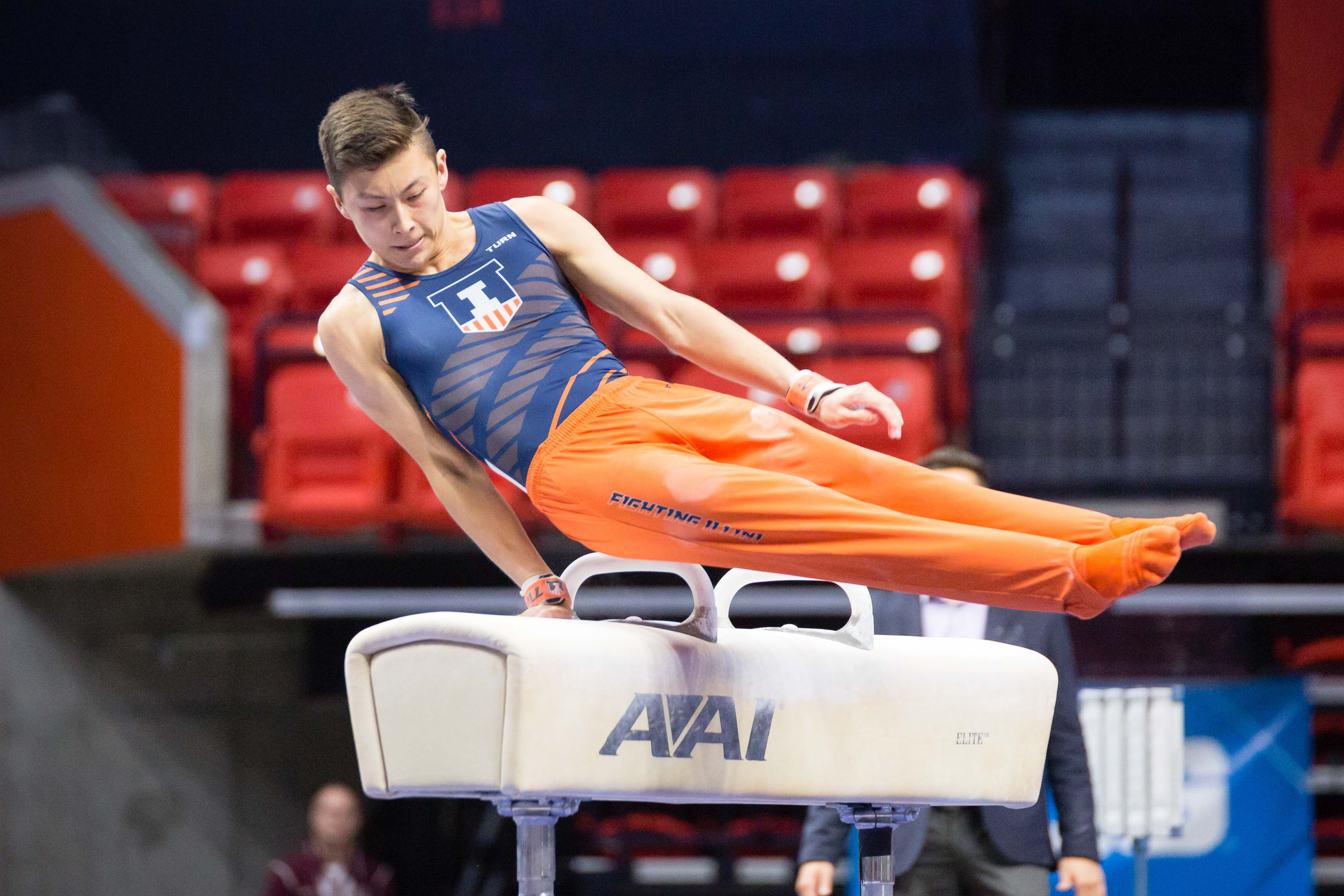 Illinois' Brandon Ngai performs on the pommel horse during the Men's Big Ten Gymnastics Championships at State Farm Center. He took the title with a score of 14.825.