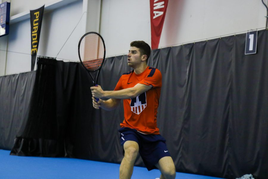 Illinois%27+Aron+Hiltzik+follows+through+on+a+swing+in+the+meet+against+University+of+Kentucky+on+Friday%2C+Feb.+24+at+the+Atkins+Tennis+Center+in+Urbana.