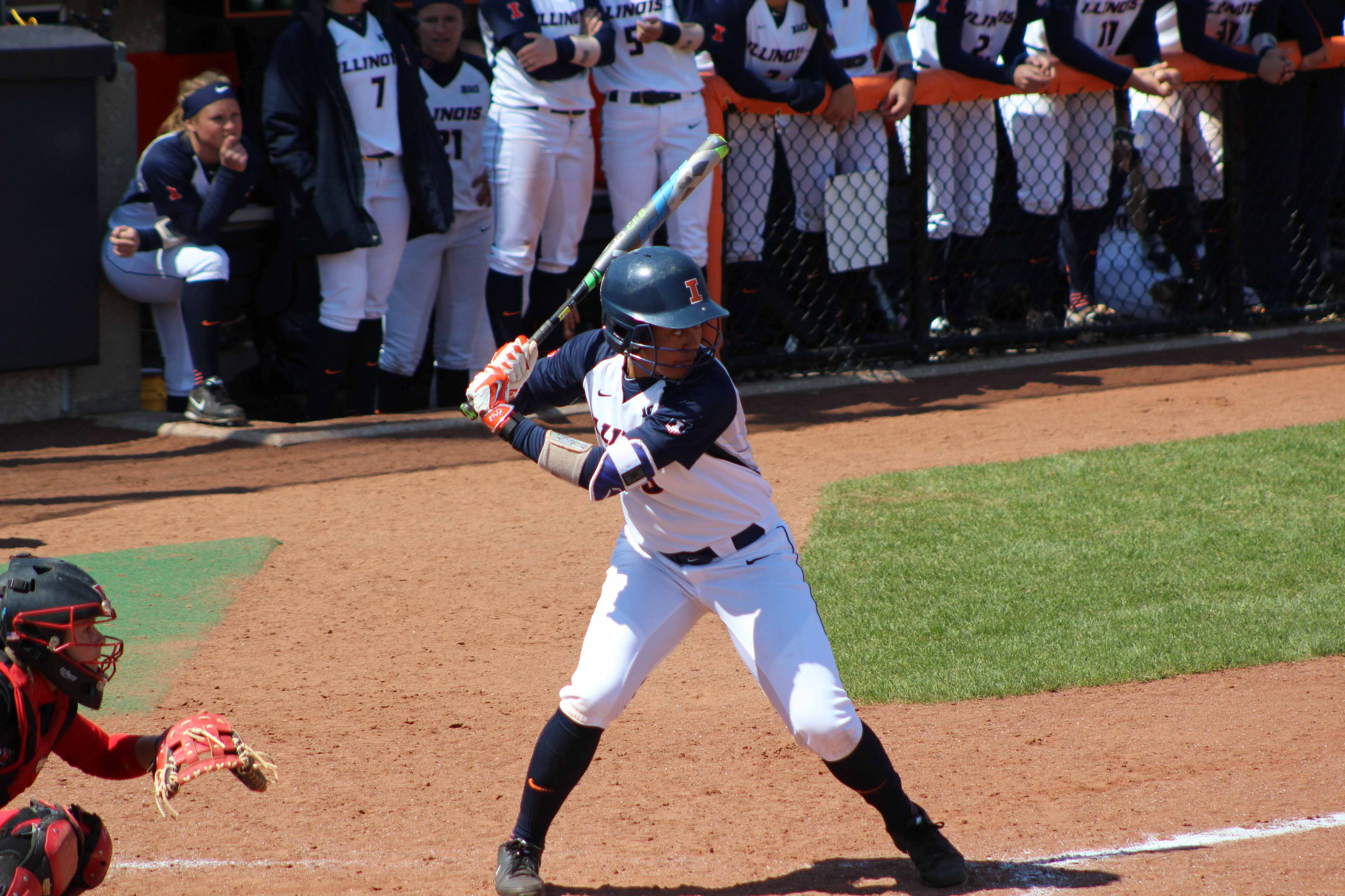 Illinois' Nicole Evans bats in the game against Rutgers at Eichelberger Field on Sunday, Apr. 3.
