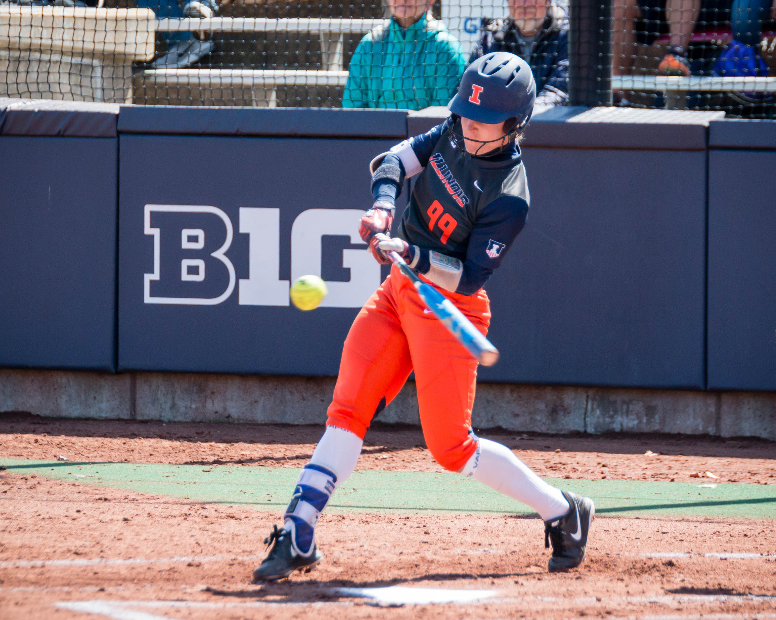 Illinois' Annie Fleming takes a swing against Minnesota on Saturday. The Illini left the series with one win.