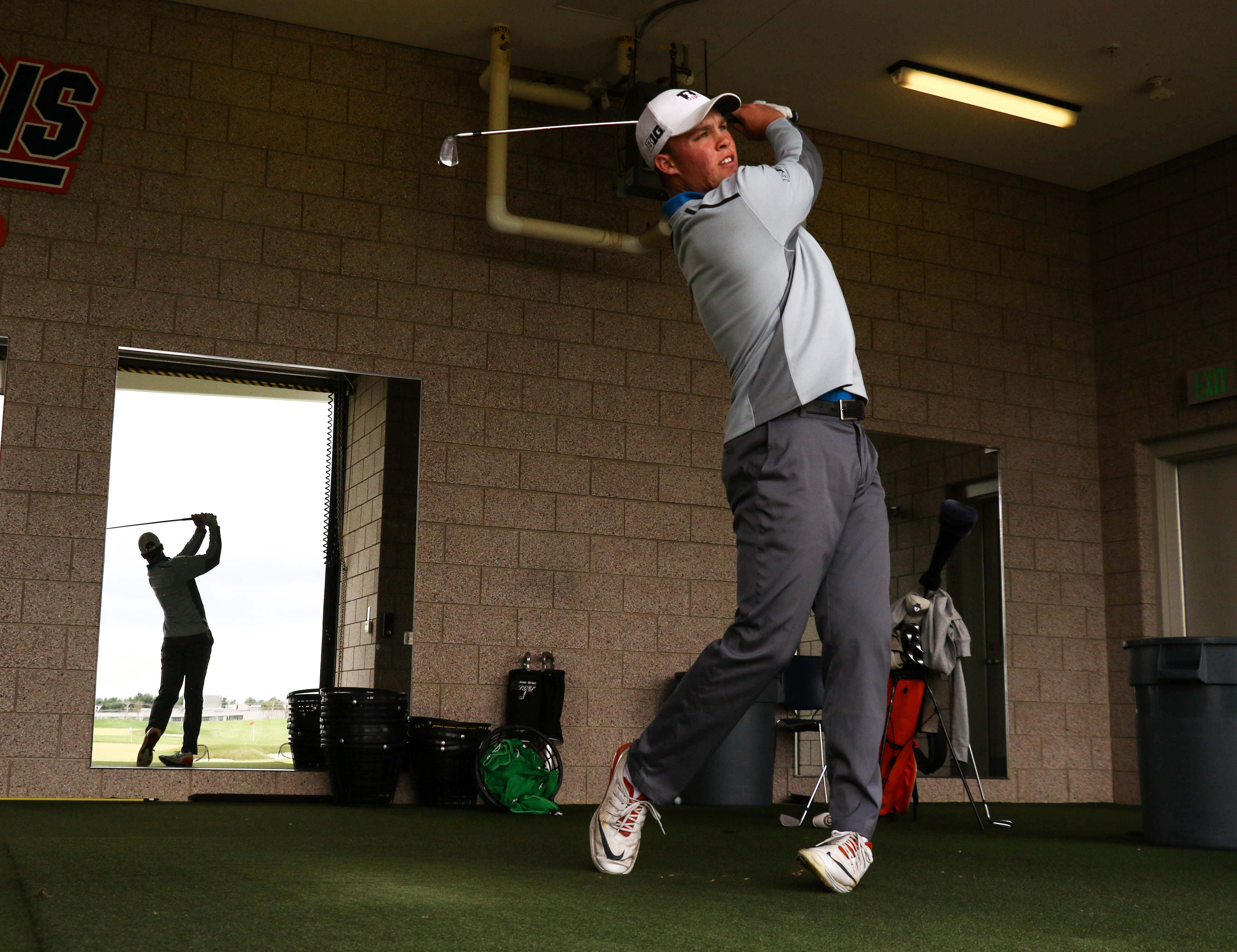 Nick Hardy practices at the Demirjjan Golf Practice Facility on April 6.