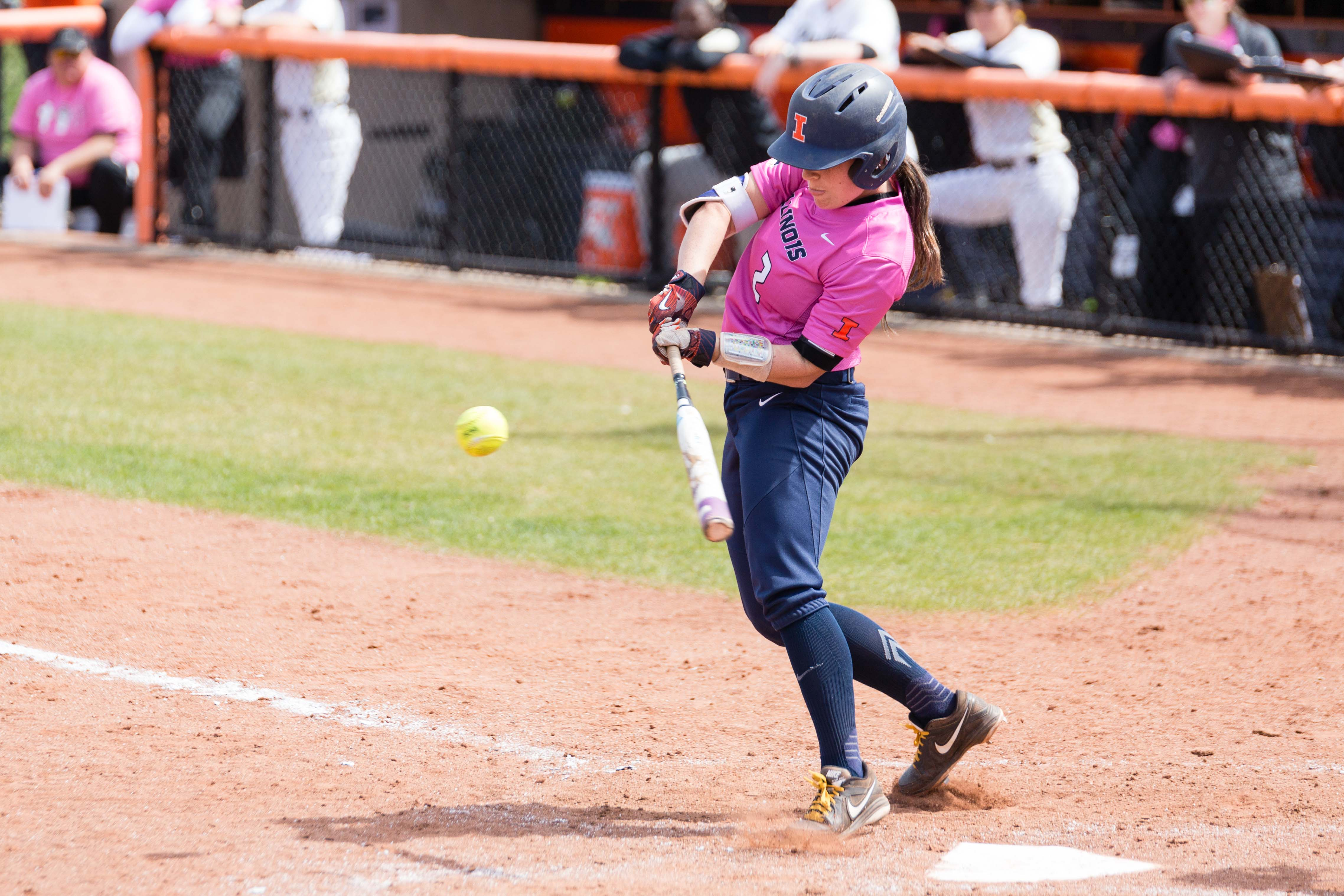 Illinois' Alyssa Gunther singles against Purdue at Eichelberger Field. The Illini won 11-4 on Saturday, partially thanks to Nicole Evans' record-breaking grand slam.