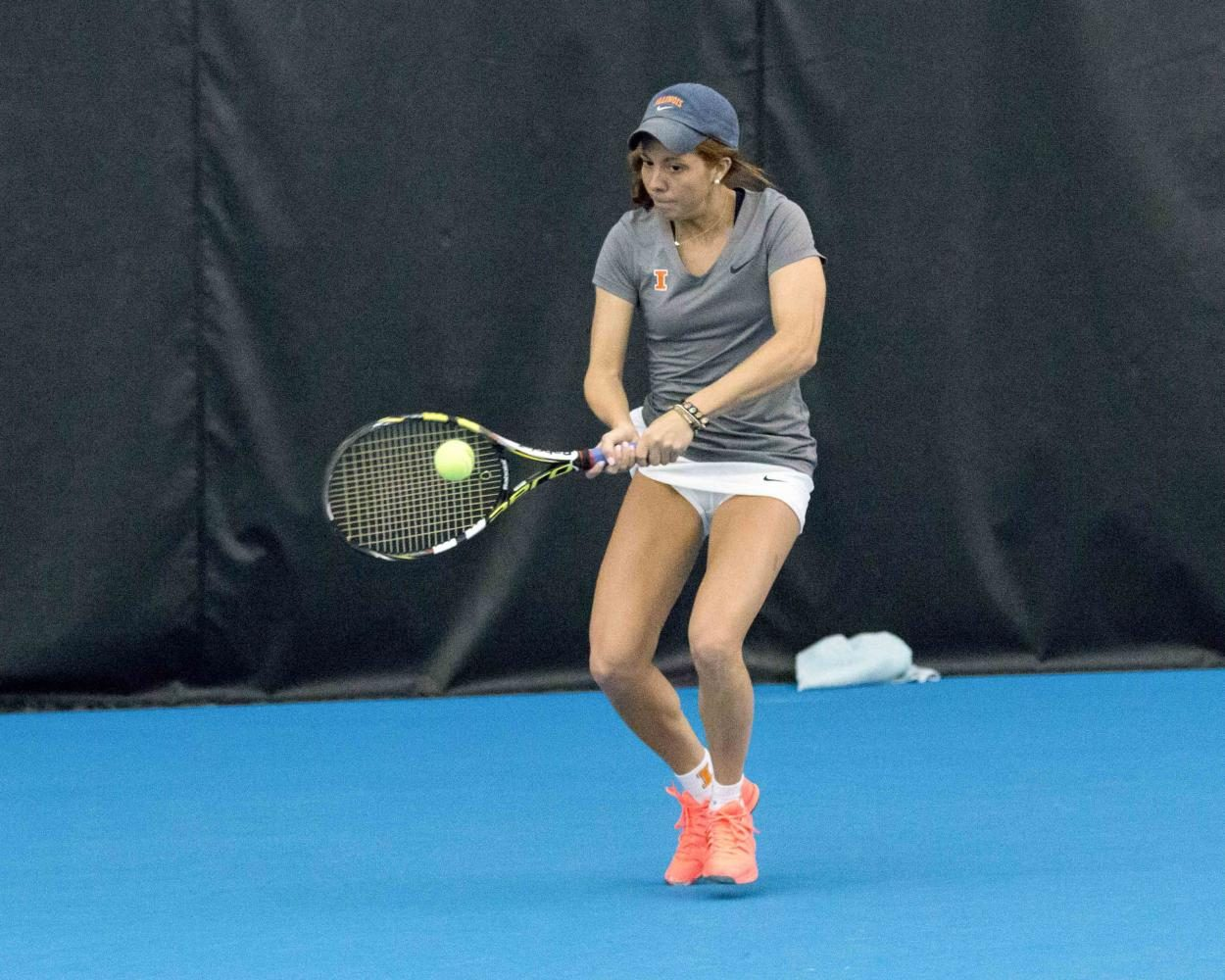 Illinois%27+Madie+Baillon+swings+for+the+ball+during+the+match+against+Nebraska+at+the+Atkin%27s+Tennis+Center+on+Sunday%2C+April+3.+