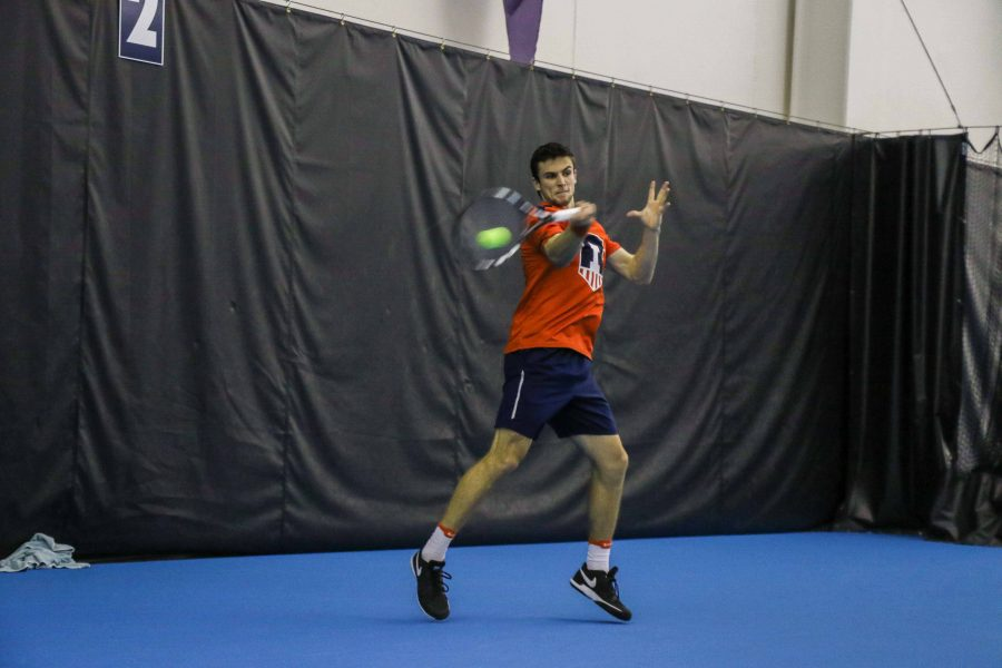 Illinois%E2%80%99+Aleks+Vukic+hits+a+forehand+in+the+meet+against+Kentucky+on+Feb.+24.+Vukic+and+Vuk+Budic+won+the+doubles+point+against+Wisconsin%E2%80%99s+Eli+Ogilvy+and+Justyn+Levin%2C+aiding+in+Illinois%E2%80%99+victory+against+the+previously+undefeated+Big+Ten+team.