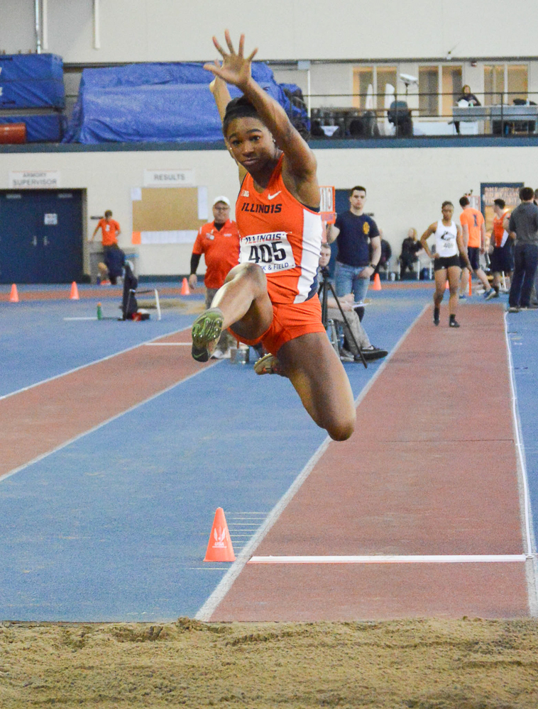 Illinois' Janile Rogers competes in the long jump at the Illinois Orange and Blue Open in the Armory on Feb. 20, 2016. Rogers set a personal record in the 200-meter dash this weekend..