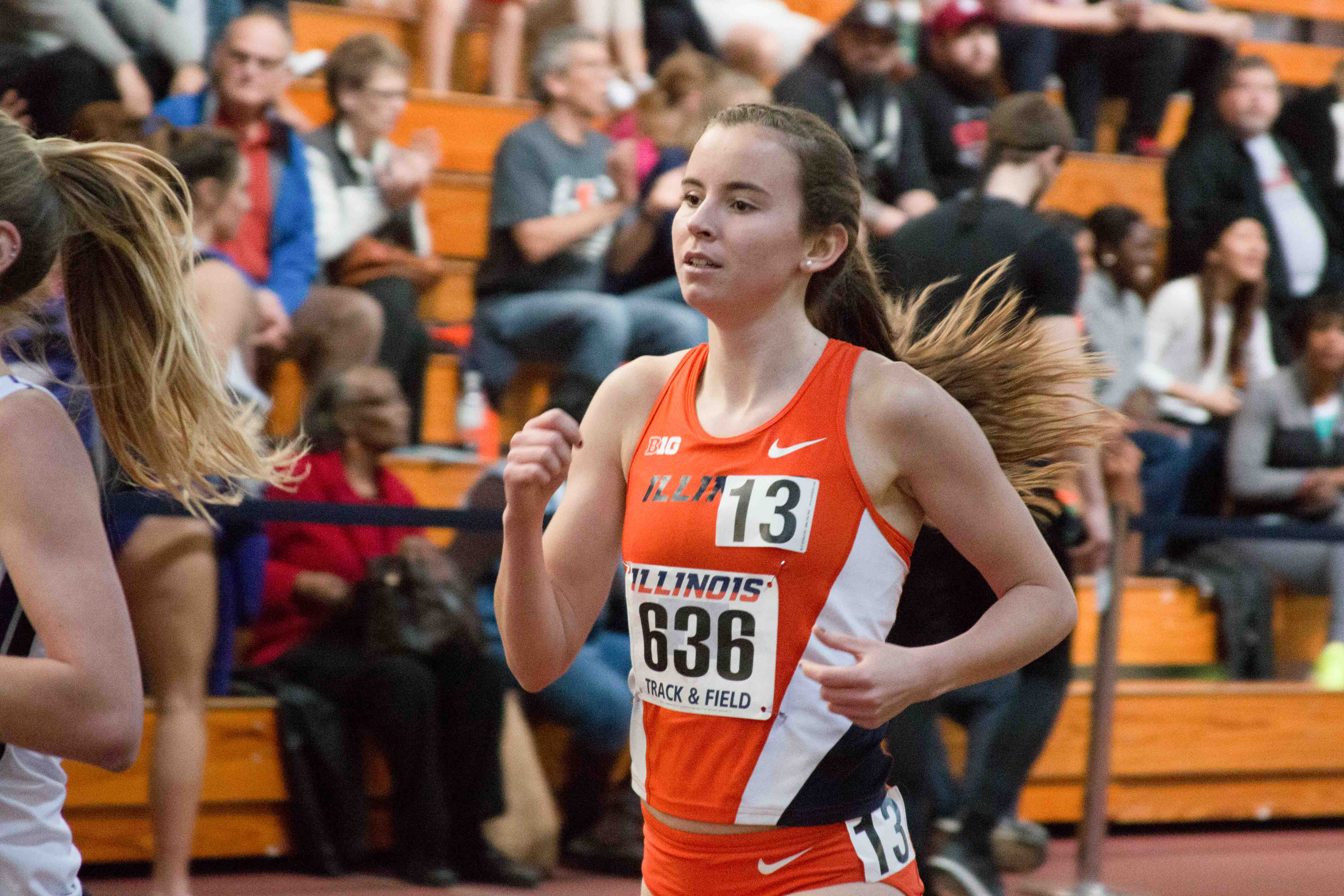 Valerie Bobart competes in the one-mile event during the Orange & Blue meet at the Armory on Feb. 20.
