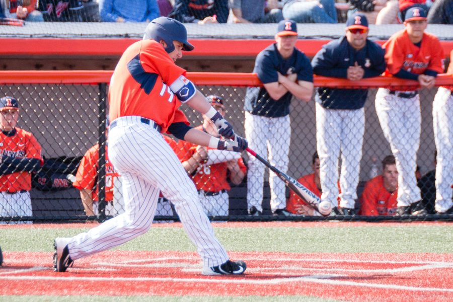 Illinois%27+Dan+Rowbottom+%2819%29+takes+a+swing+against+Indiana+State+on+Saturday%2C+April+1.+Illinois+defeated+Western+Michigan+13-3+Tuesday.+