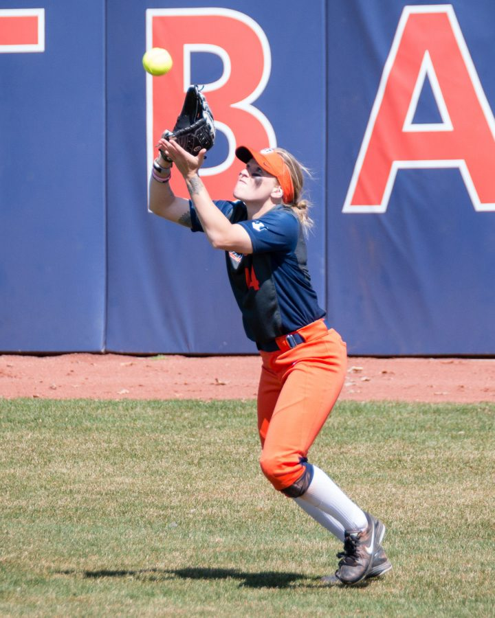 Illinois right fielder Maddi Doane catches a fly ball against Minnesota at Eichelberger Field on April 1.