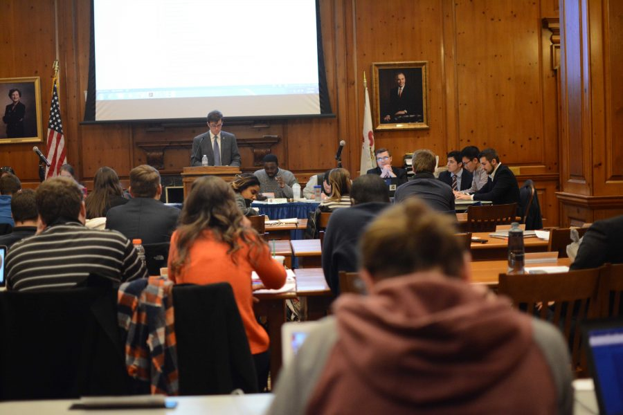 The+Illinois+Student+Government+met+for+the+last+time+of+the+spring+semester+on+Wednesday.+Student+body+president+Raneem+Shamseldin%2C+junior+in+Business%2C+encouraged+members+to+work+on+resolutions+over+the+summer.+