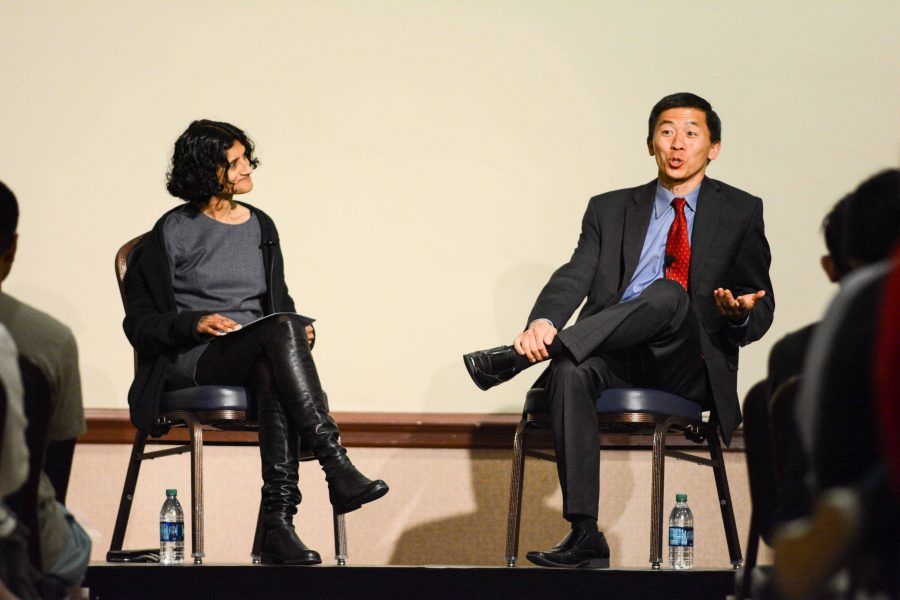 California Supreme Court Justice Goodwin Liu speaks with students on Tuesday at the Illini Union about his career in law.