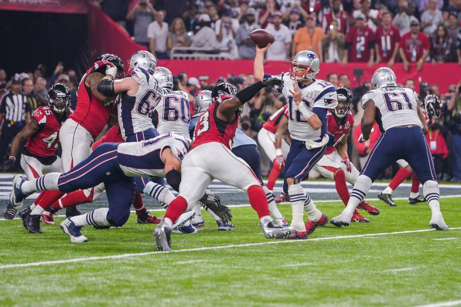 New England Patriots quarterback Tom Brady (12) passes to New England Patriots wide receiver Danny Amendola (80) for a two-point conversion to tie the game during the fourth quarter of Super Bowl LI between the New England Patriots and the Atlanta Falcons on Sunday, Feb. 5, 2017 at NRG Stadium in Houston, Texas. (Anthony Behar/Sipa USA/TNS)