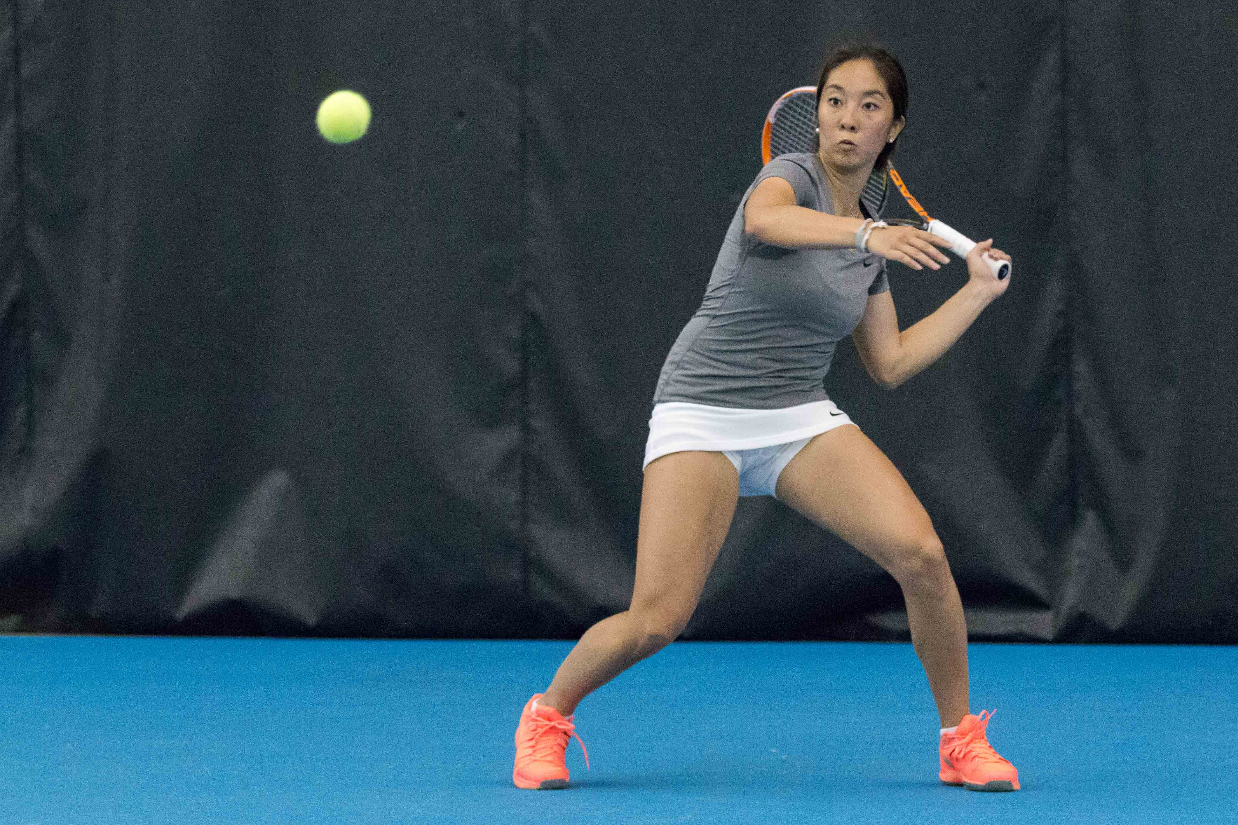 Illinois' Louise Kwong gets ready to return the ball during the match against Nebraska at the Atkin's Tennis Center on Sunday, April 3.