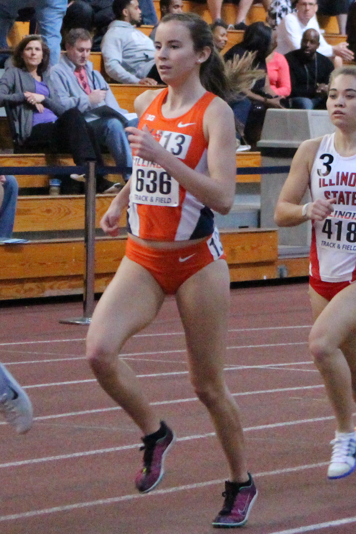 Illinois' Valerie Bobart running in the Orange and Blue meet at the Armory on Saturday, Feb. 20, 2016