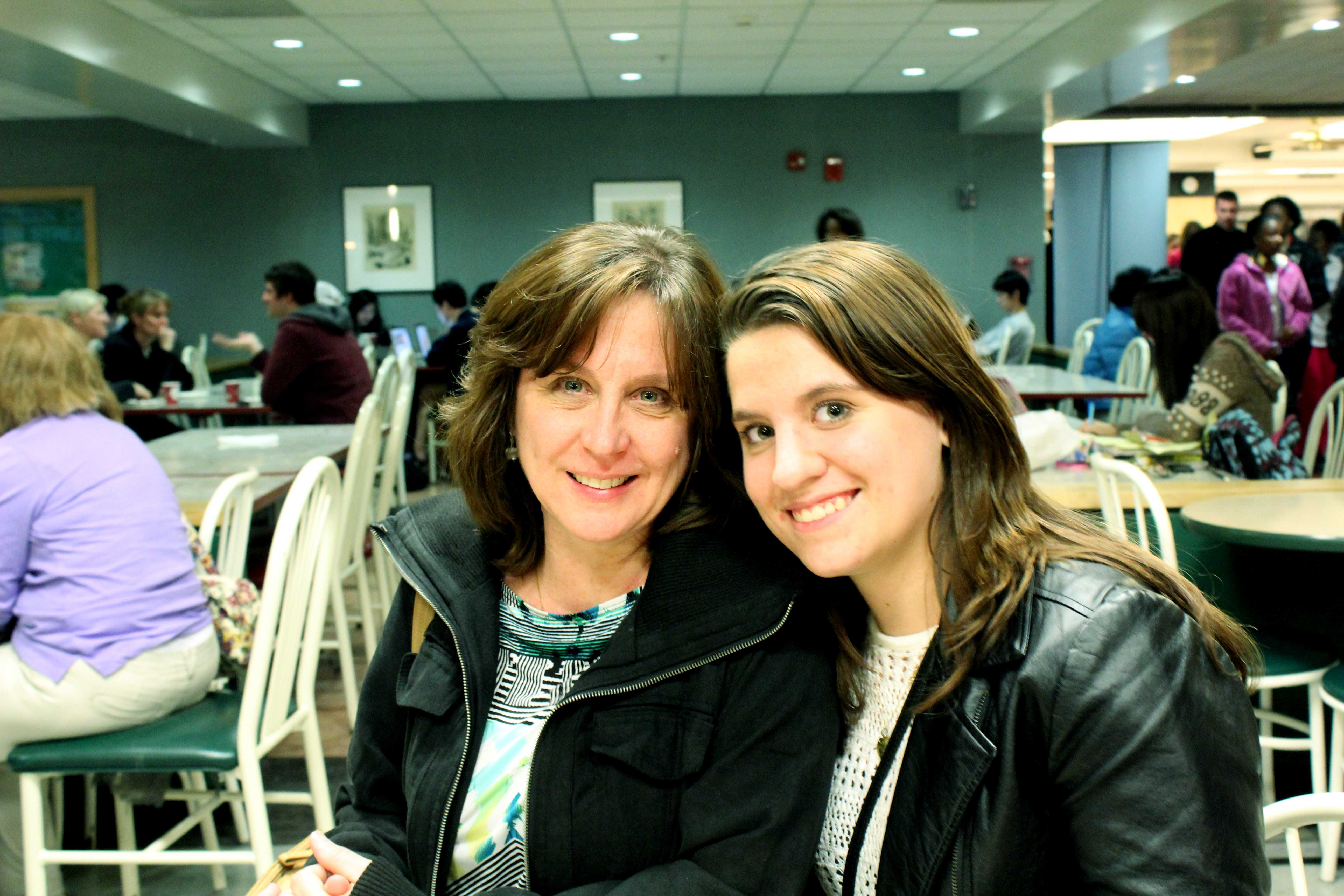 Mary Dehaan (left), with her daughter Stephanie Dehaan, (right). Multiple events on campus are provided for families visiting on Moms Weekend, including fraternity events and activities at the Illini Union.