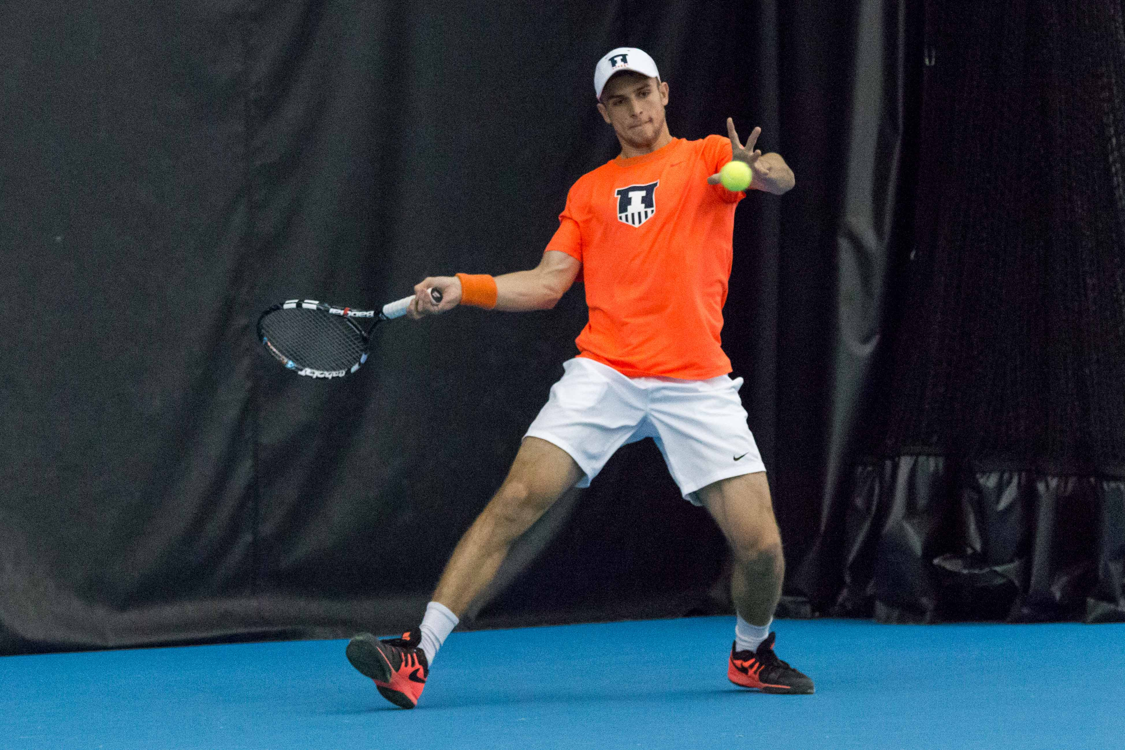 Illinois' Aleks Vukic gets ready to return the ball during the match against Wisconsin at the Atkin's Tennis Center on Sunday, April 3.
