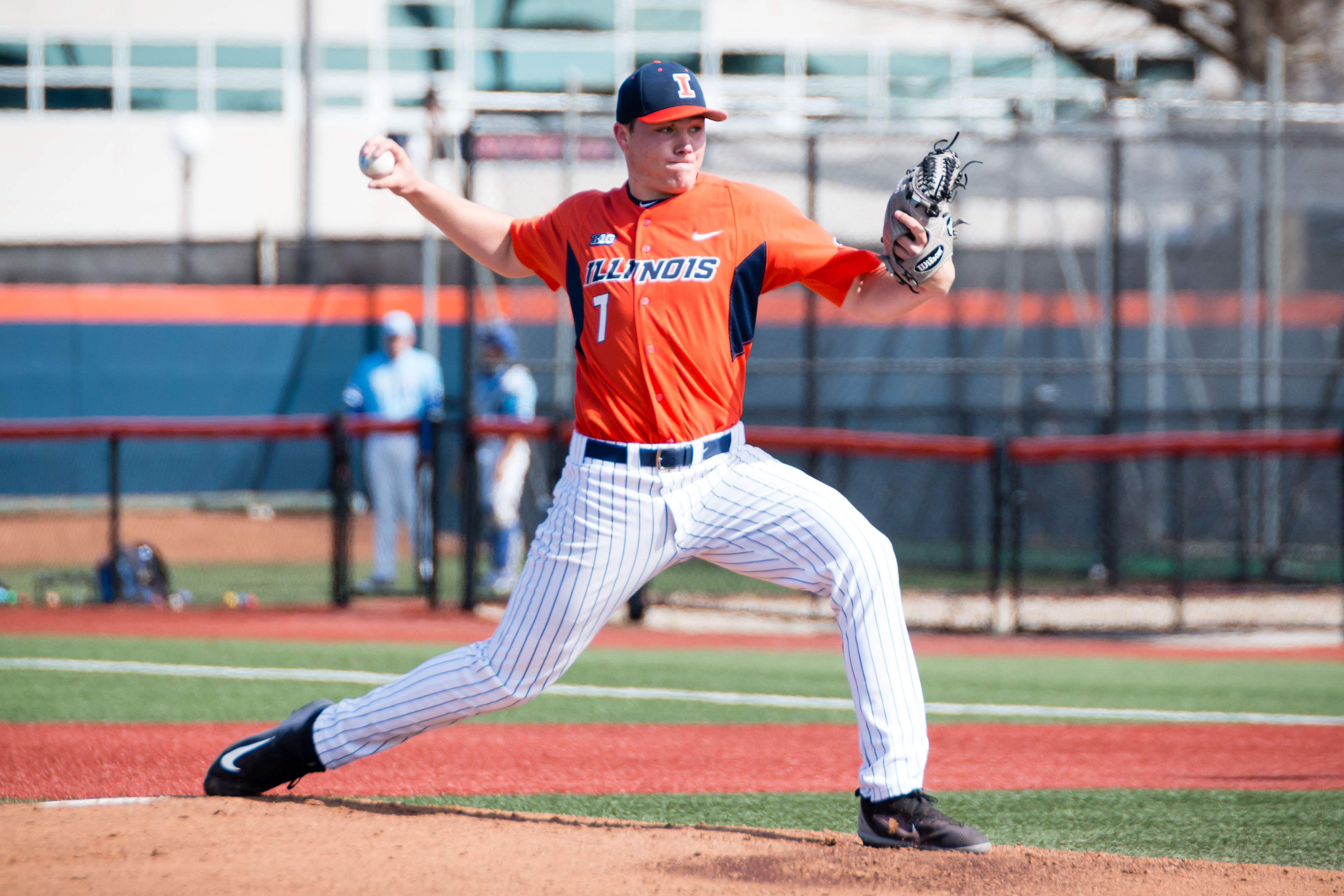 Illinois starting pitcher Ty Weber (7) delivers the pitch during the game against Indiana State at Illinois Field on Saturday, April 1.