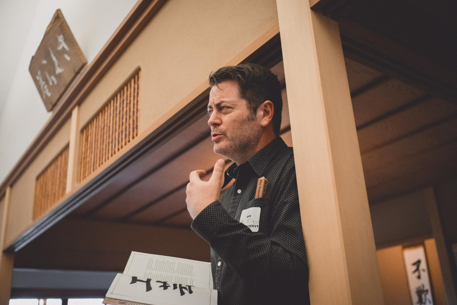 Nick Offerman at the Japan House during one of his many visits to the University. Offerman will speak Saturday at the Main Commencement.