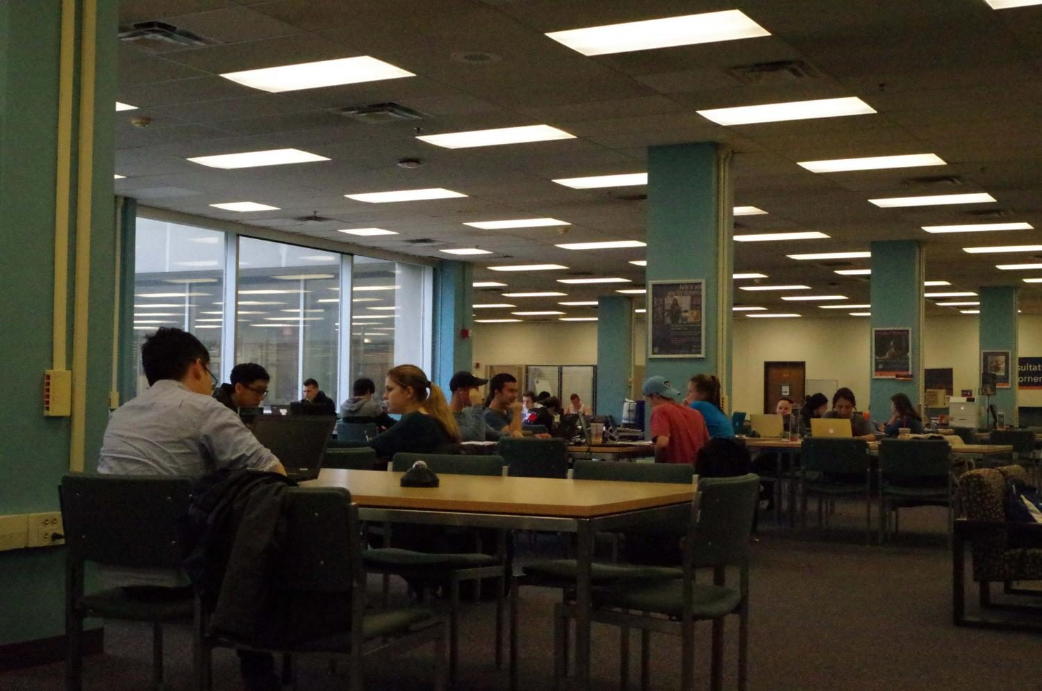 Students study in anticipation for their final exams at the Undergraduate Library.